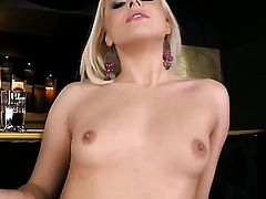 Blonde Brandy Smile shows her body parts before she plays with herself