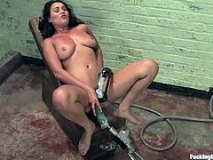 Sexy brunette Charley Chase is testing a fucking machine. She gets her amazing natural boobs pumped and then enjoys having fucking machine's attachment in her pink cave.