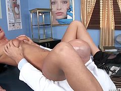 Being a doctor is tough in spite of that the big dick guy pleases every single women just before her plastic operation. He draws some lines on her body but her small boobs taunts him to loose his control. After that he tells her to lay down and starts sucking her shaved cunt by keeping her legs wide.