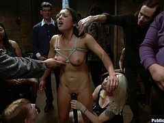 A gorgeous brunette slut gets tied up and fucked hard in this kinky-ass bondage scene, hit play and check it out! It's fucking hot!