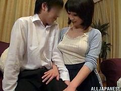 Lewd Japanese milf seduces some guy and takes him to her bedroom. There, she shows him her tits and then lets the dude drill her twat in missionary position.