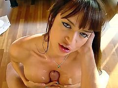 Smoking hot heavy chested brunette bombshell Franceska Jaimes with jaw dropping gazongas and round firm bums gives mind blowing blowjob session to her handsome lover in point of view.
