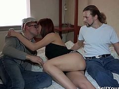 Cute redheaded slut is ready to fuck for some cash with a random dude. She was short of money so she spreads legs in front of her poor boyfriend!
