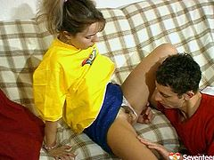 Black haired teen cutie polishes her wet hairy fresh pussy on the kitchen counter. Then spoiled nympho in yellow loose T-shirt sees a dick boner. So slim pale girlie kneels down to give a solid blowjob for sperm right away.
