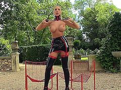 Danielle Maye is one hardcore bdsm bitch who loves to rub her pussy with a whip