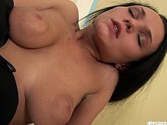 Saucy slut Anabell is brutally buttplugged