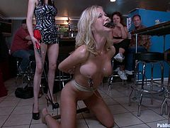 Horny blonde fucking slut is tied up and fucked in front of a crowd that watched while the dirty action takes place, this is public disgrace!