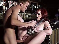Turned on slim dude Danny D with long meaty shaft fucks hard full figured pale redhead Jayne Rose with heavy make up and gigantic natural knockers in arousing fantasy.
