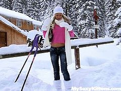 Freaky chick Christine strips outdoor in winter