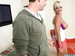 Delta White cant resist the temptation to take mans throbbing love stick in her hands
