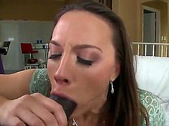 Cheating whorish brunette milf Chanel Preston wtih big tits and great hunger for cock gives amazing blowjob to black bull with monster cock and gets rammed to loud orgasm.
