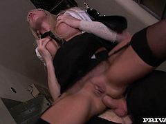 Sexy blonde milf Natalli Di Angelo is having fun with two guys in a basement. She admires them with her cock-sucking abilities and then gets her wet cunt and tight butt pounded hard.