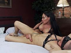 Sexy blonde chick and tied up guy have wild sex with sexy shemale. This tranny fucks a guy and a girl in their tight asses.
