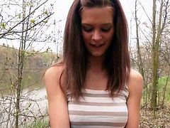 Amateur brunette Czech girl Kelly Sun was pursuaded to get her perky tits exposed while a stranger touching them then gets her pussy nailed in the woods for a quick cash