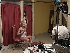 Pretty young blonde and brunette girlfriends Silvia Saint and Tea Jul are hotly posing their bodies