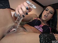 Cum addicted slender brunette with heavy makeup goes nuts tonight. Wondrous slut with nice butt and sweet tits masturbates with a glass dildo to warm up her wet pussy. Horn-mad chick thirsts for cum and kneels down to provide a black stud with a solid blowjob right away.