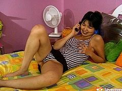 Voracious Asian lesbian calls her friend to come over to have fun. Big fat mature slut enters the room so they start pleasing each other on a bed.