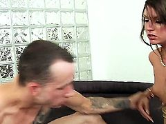 Tempting brunette Cassandra Nix with long sexy nails and natural boobies gets her round firm ass drilled deep by wild tattooed stud in doggy style position in close up.