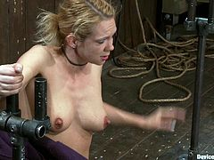Rain DeGrey hangs upside down in this bondage video where she's having her nipples tortured and clothespins all over her body before being fucked by a sybian.