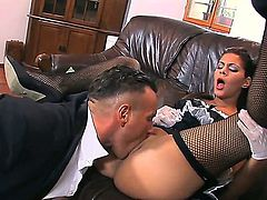 Naughty spanish maid gives a horney sexy blonde a pussy lick and later gets her wet puusy fucked