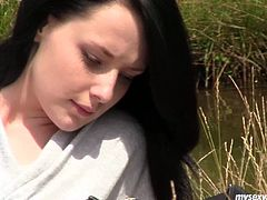 Sizzling brunette babe with slim sexy body gets horny in a steamy solo masturbation porn clip. She strips seductively lying on a grass by the river side. She rolls her eyes up enjoying passionate jerk off. Hot outdoor masturbating XXX video presented by My Sexy Kittens.