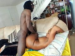 A dirty ebony fucking bitch sucks on a big-ass black cock and then gets it shoved balls deep into her fucking pussy, check it out!