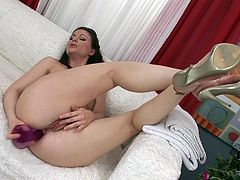Sextractive brunette milf pokes her gaped asshole with dildo