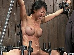There's some pretty extreme bondage action in this video with the Asian Tia Ling who will then get her pussy toyed in a way that ends up being a pleasure torture.