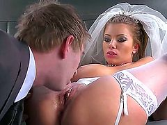 Hot slutty bride with great boobs and butt Donna Bell is having cool fuck with Danny D while her future husband is busy with some businesses. Watch what they do here.