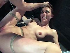 This smoking hot siren is being tortured so hard! She gets that huge cock only at the end, when he finishes torturing this desirable siren!