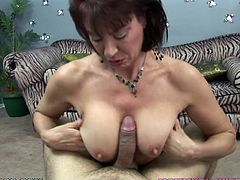 Since her husband's always out on business trips, Vanessa Videl looks for someone to take care of her. Watch her sucking on this guy's cock until swallowing his cum.