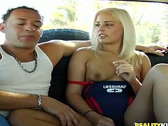 A gorgeous and hot blonde beach lifeguard is going to ditch responsibilities for a while, as she takes cash for sex in a van!