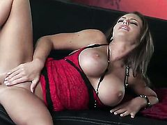 Jenna Presley with gigantic knockers and shaved snatch is ready to toy fuck her twat on cam 24/7