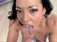Gorgeous brunette milf Rio Lee is having fun with some man indoors. She drives him crazy with her terrific body and then shows her mindblowing cock-sucking skills.