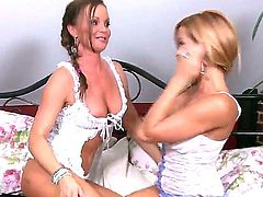 Brunette and blonde lick each others pussies and are involved in a hot lesbian action involving toys