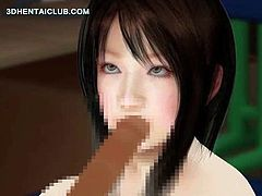 Gorgeous anime cutie masturbating pussy and sucking a huge cock