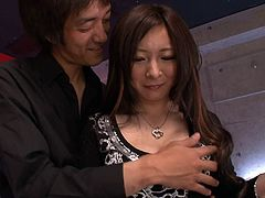 Fresh faced Japanese amateur gets picked up in bar by sex hungry dude. He strokes her big milky tits through clothes before taking off her clothes leaving her in black and white lingerie set.