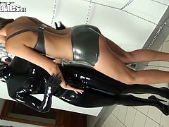 She likes to suck strapon device and rub against latex body. Lustful brunette with nice ass and juicy tits like sit harder. Enjoy her for free.