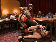 Two redhead chicks fuck each other with a strap-on. Then they lick toes and suck dicks. Surely, then they get fucked in their pussies.