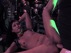 A hot brunette fucking bitch gets totally toyed with and fucked in this kinky bondage scene right here, hit play and check it out!