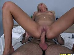 Gorgeous blonde cutie Andrea Francis favours some lucky dude with a hot blowjob. Then she lets the man slide his schlong into her coochie and gets it banged doggy style and in other positions.