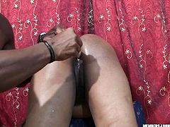 She sends his dick deep in her throat and polishes his balls. After he digs her pussy with dildo toy and makes her moan with pleasure.