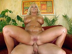 Lucy is a beautiful euro blonde with massive melons. This blue-eyed blonde bombshell with shaved pussy gets every hole drilled but prefers ass pounding anyhow. Watch slut with giant tits get analyzed.