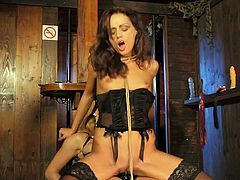 Two lesbos know for sure how to gain lots of pleasure. Impressively hot and voracious chicks with nice tits wanna polish each other's pierced wet pussies. Torrid brunette in black corset wears strapon and does her best to drill the twat of ardent blondie.