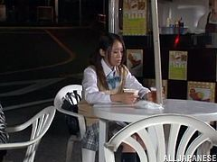 Adorable Japanese girl falls asleep in cafe. Waiter brings her to his house and undresses this babe. After that he toys her pussy and she gives him a blowjob.