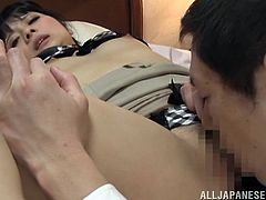 She was sleeping and he wakes her up, licking and sucking her nipples. Then babe wakes up and spreads her legs for him. Very sensual!