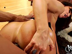 Filthy brunette milf with fuckable curvy body and big slack tits hooks up with two black dudes. One of them anal fucks her in doggy style while her mouth is busy giving a head to another huge penis in sizzling hot interracial MMF sex video by WCP Club.