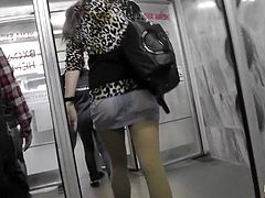 Naughty guy enjoys fetish of filming hotties under their skirts in public