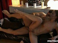 Sexy dark-haired milf Claudia Rossi is getting naughty with some guy in a dark room. She favours the man with a hot blowjob and then they bang in cowgirl and other positions.