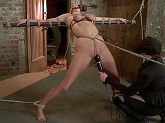 Sexy blonde Allie James is playing dirty games with some man in a cellar. She gets bound and enjoys having a dildo in her juicy snatch.